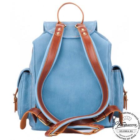 """Кожаный рюкзак """"Мидл"""" (голубой) - 12"""
