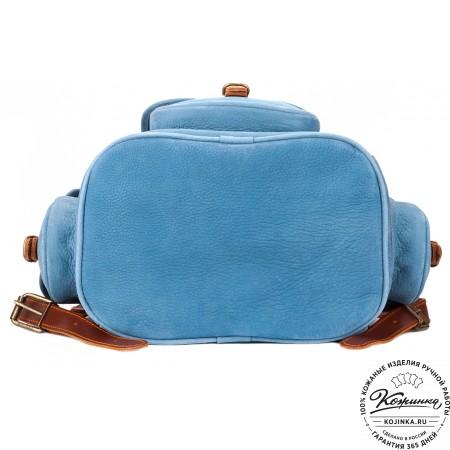 """Кожаный рюкзак """"Мидл"""" (голубой) - 11"""