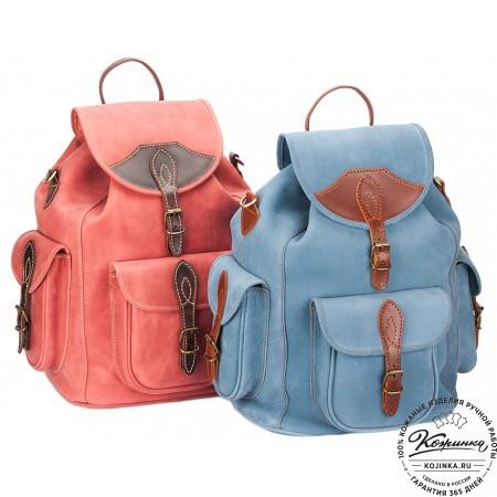 """Кожаный рюкзак """"Мидл"""" (голубой) - 6"""