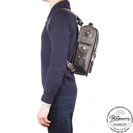 """Кожаный ранец-портфель """"Джон"""" (черный)"""