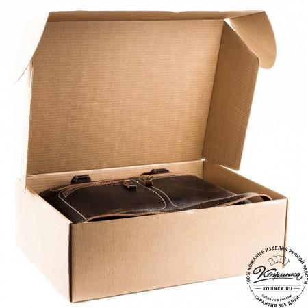 """Кожаный рюкзак """"Пилот"""" (темно-коричневый) - 15"""
