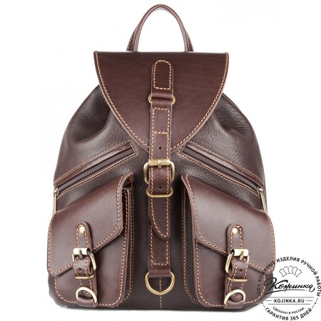 """Кожаный рюкзак """"Пилот"""" (темно-коричневый) - 12"""
