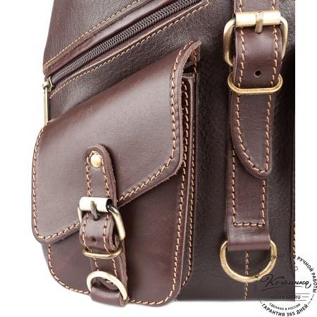 """Кожаный рюкзак """"Пилот"""" (темно-коричневый) - 11"""