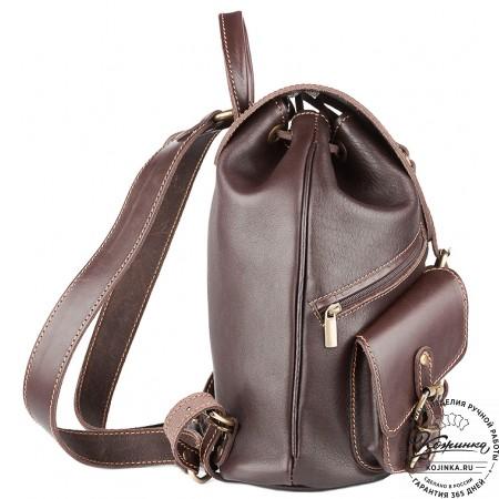 """Кожаный рюкзак """"Пилот"""" (темно-коричневый) - 10"""
