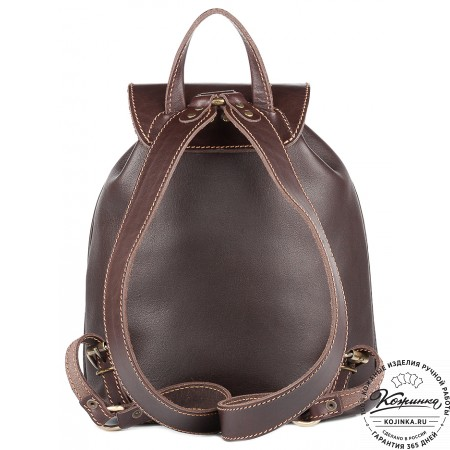 """Кожаный рюкзак """"Пилот"""" (темно-коричневый) - 9"""