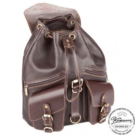 """Кожаный рюкзак """"Пилот"""" (темно-коричневый) - 7"""