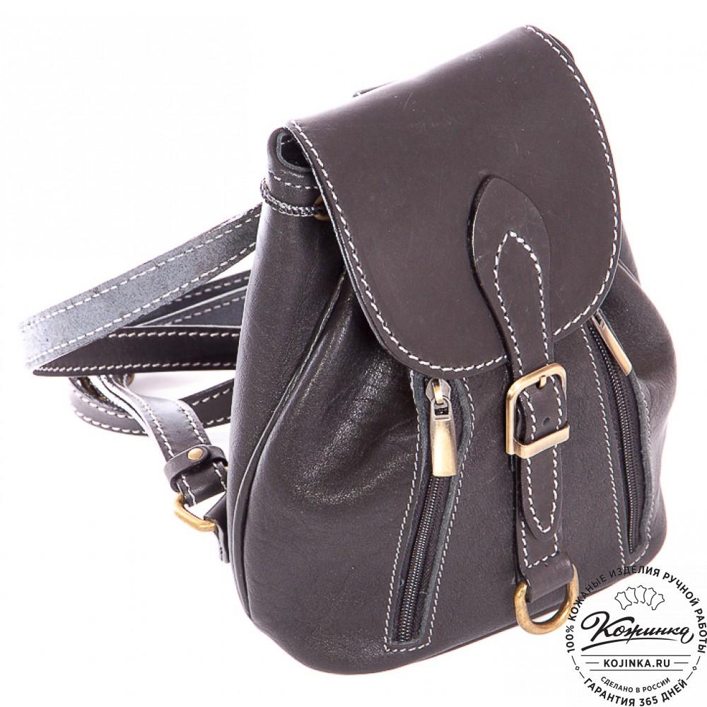 """Женский кожаный рюкзак """"Колибри"""" (черный)"""