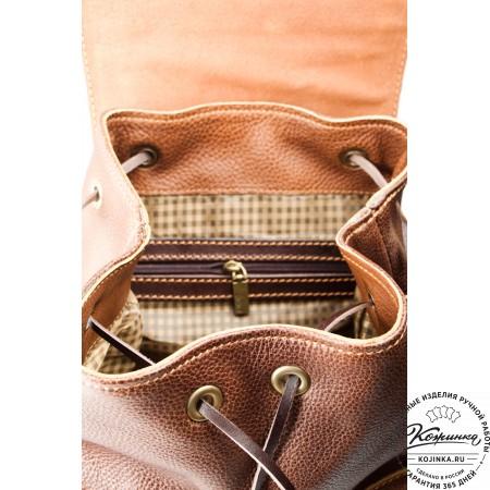 """Женский кожаный рюкзак """"Гейша"""" (коричневый) - 3"""