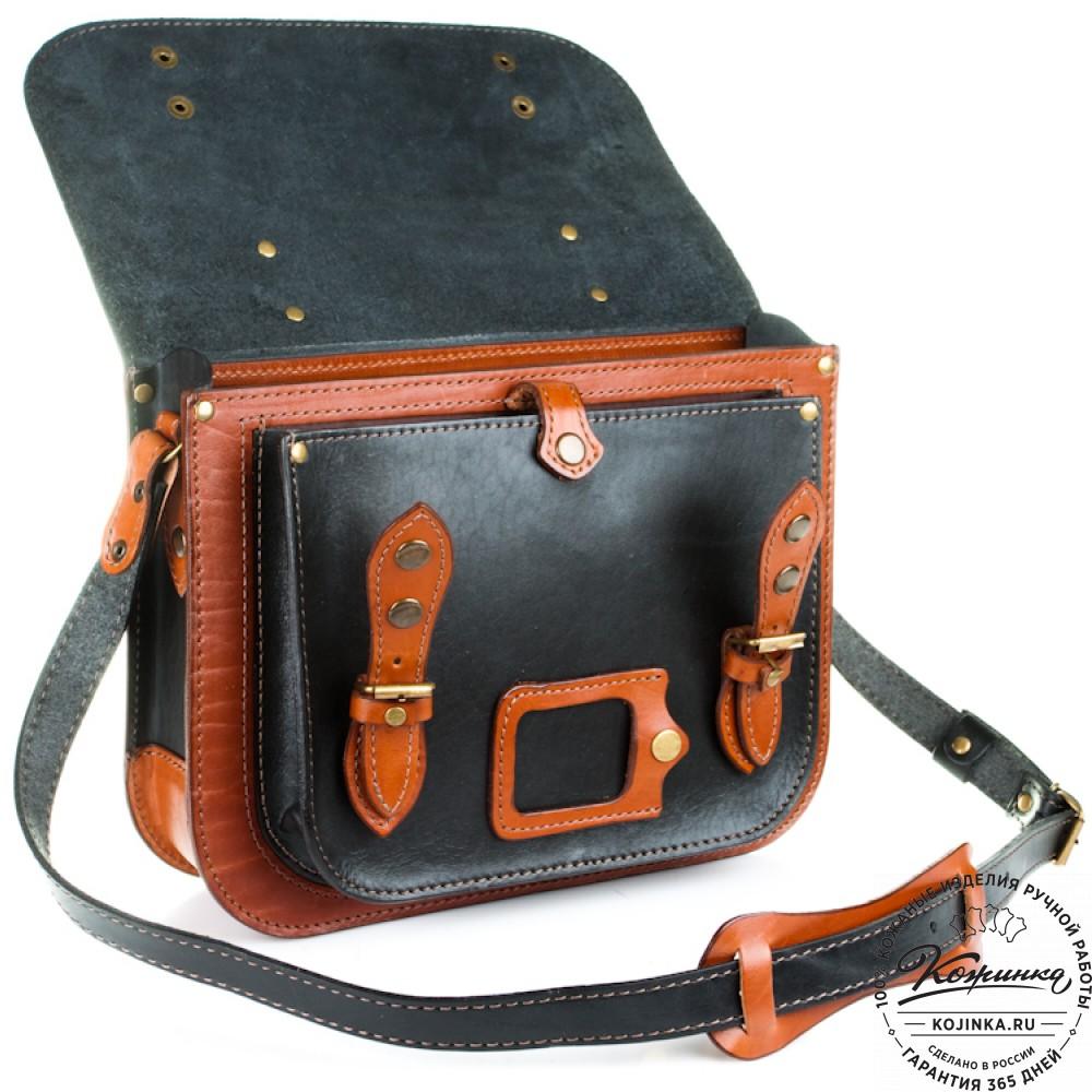 """Кожаный портфель """"Сатчел""""  (чёрно-коричневый)"""