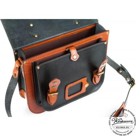 """Кожаный портфель """"Сатчел""""  (чёрно-коричневый) - 2"""