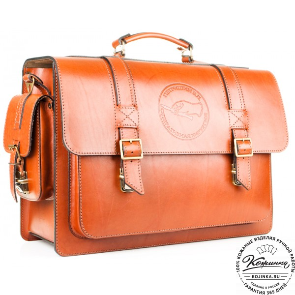 """Кожаный портфель ручной работы """"Академик"""" (светло-рыжий). фото 1"""