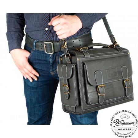 """Кожаный портфель """"Бойскаут"""" (чёрный) - 11"""