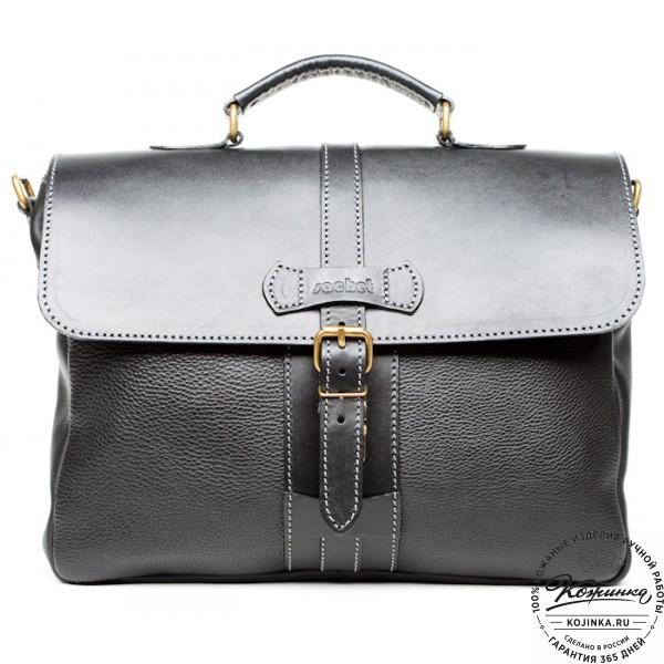 """Кожаный портфель """"Лайт"""" (чёрный). фото 1"""