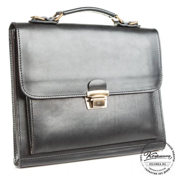 """Деловой кожаный портфель """"Мини"""" (чёрный). фото 1"""