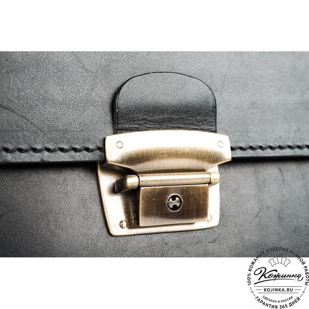 """Деловой кожаный портфель """"Мини"""" (чёрный)"""