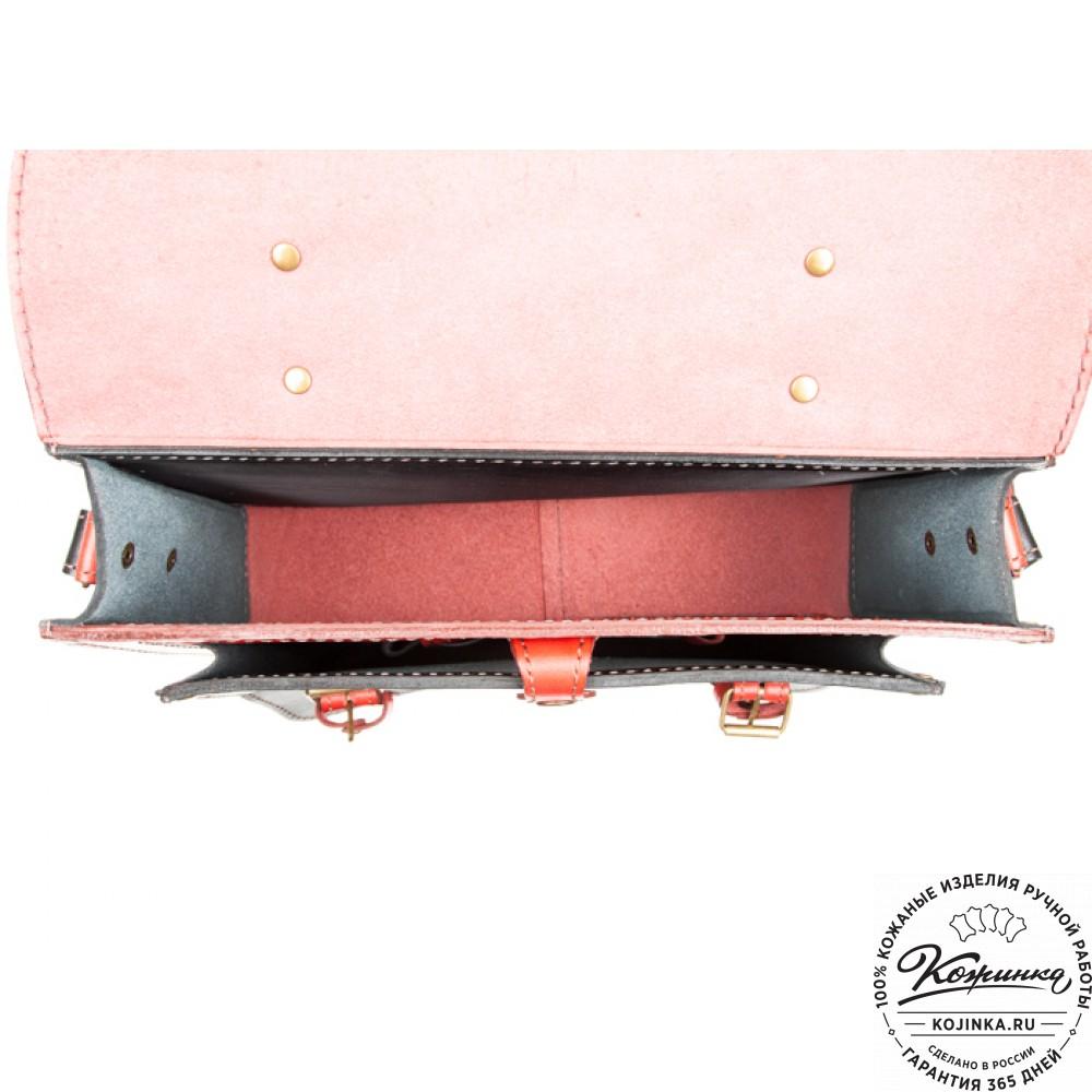 """Кожаный портфель """"Сатчел""""  (красно-чёрный)"""