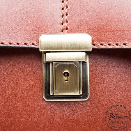 """Кожаный Портфель-Кофр ручной работы""""Титан 2"""" (тёмно-рыжий)"""