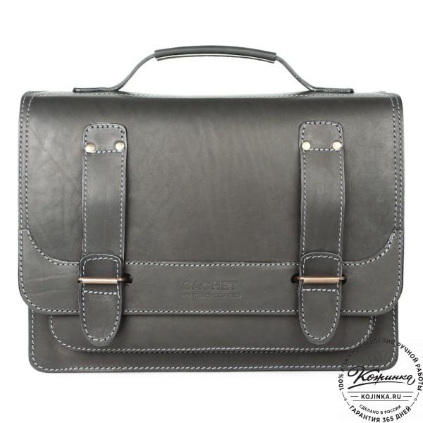 """Кожаный портфель """"Француз"""" (черный). фото 1"""