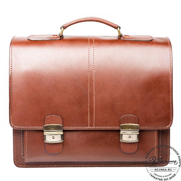 """Кожаный деловой портфель """"Адвокат-2"""" (коричневый). фото 1"""