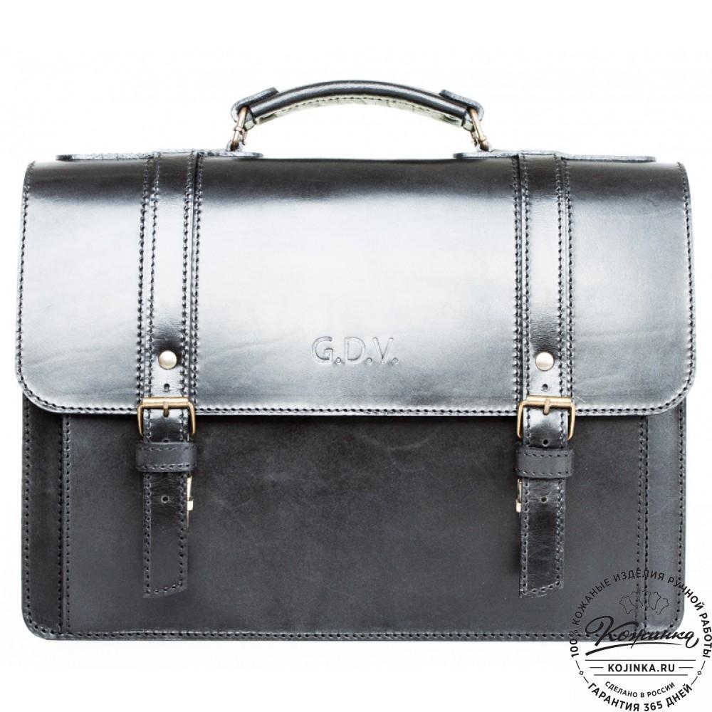 """Кожаный портфель ручной работы """"Пегас-2"""" (черный)"""