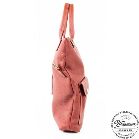 """Женская кожаная сумка """"Амели"""" (брусничка)"""