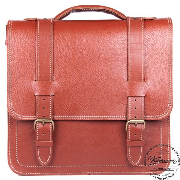 """Кожаный портфель """"Тесла"""" (рыжий). фото 1"""