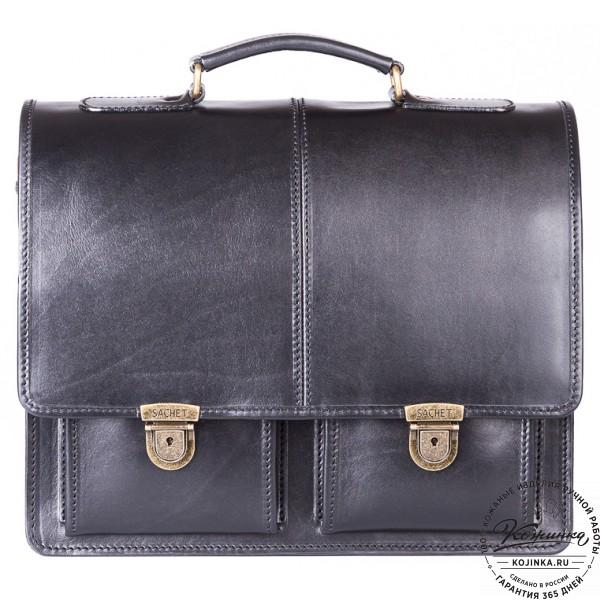 """Кожаный деловой портфель """"Адвокат-1"""" (черный). фото 1"""