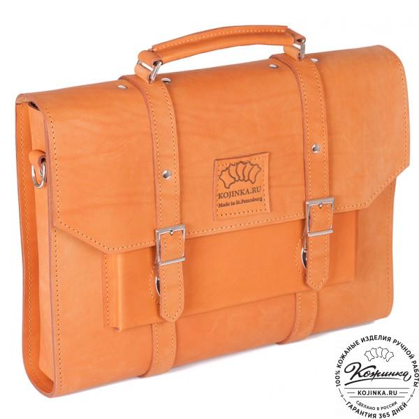 """Кожаный портфель """"Гордон"""" (рыжий). фото 1"""