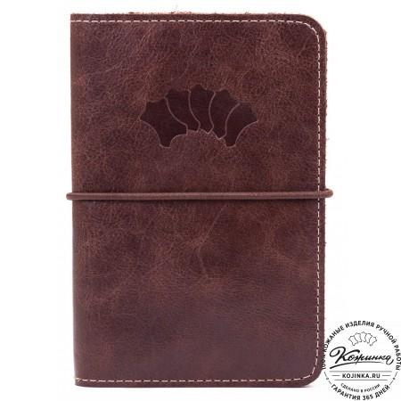 Кожаная обложка на паспорт Прага (коричневая)