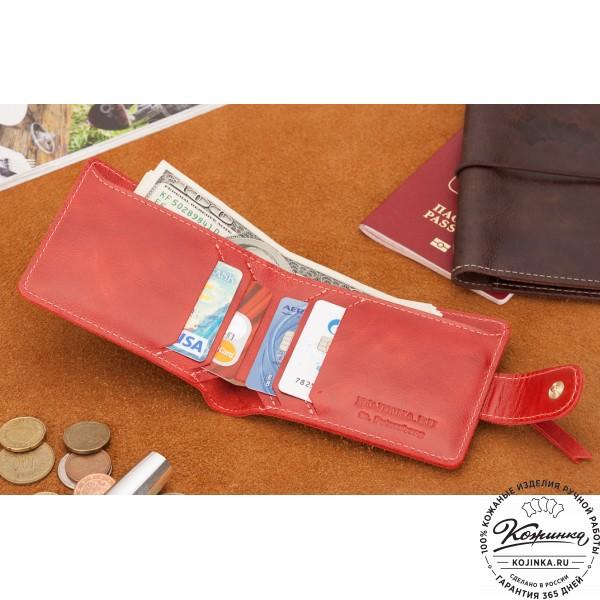 Кожаное портмоне Италия (красное). фото 1
