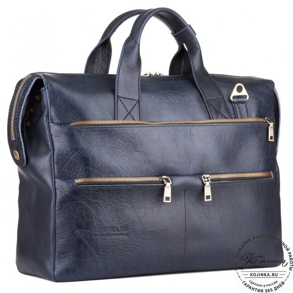 """Кожаная деловая сумка """"Марк"""" (темно-синий). фото 1"""