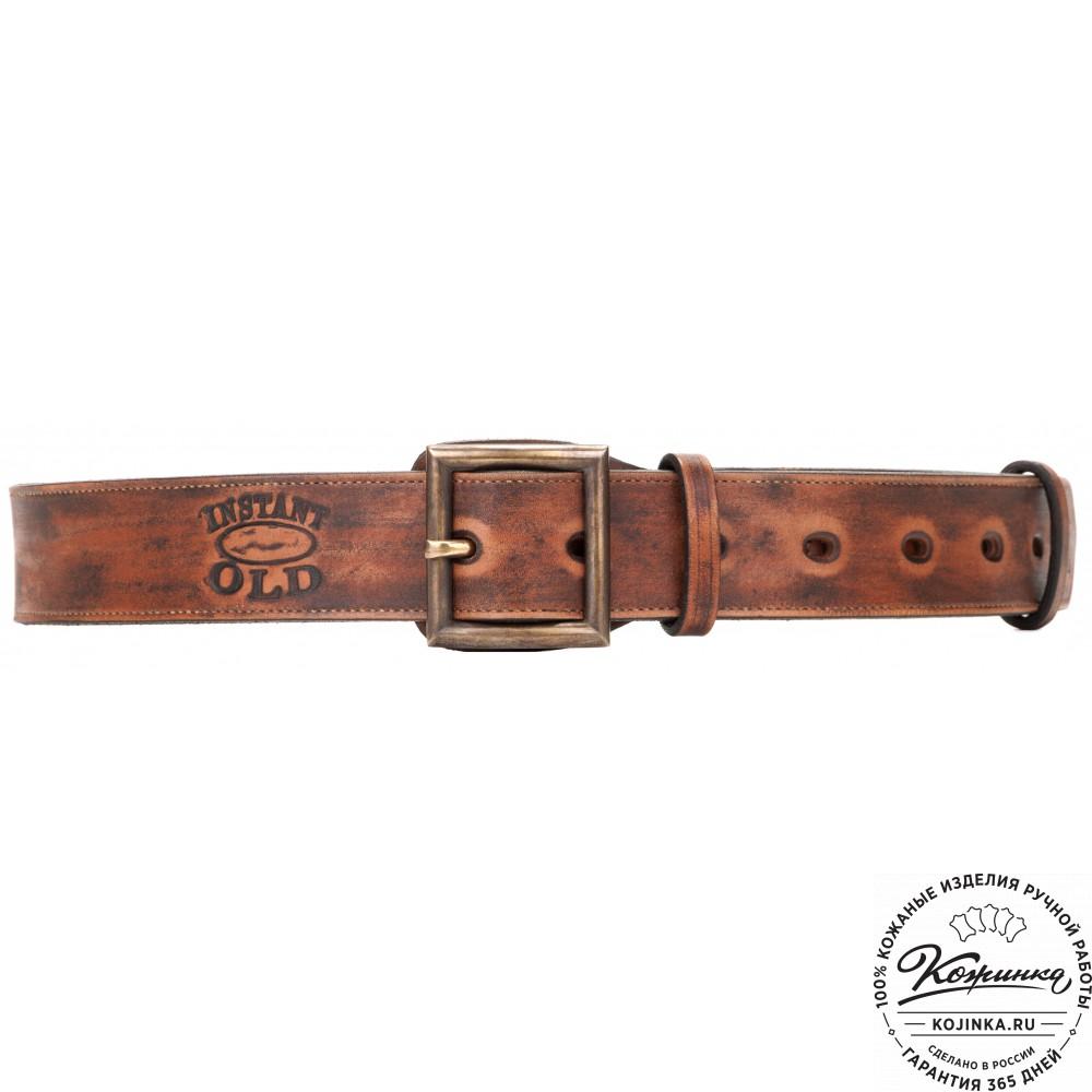Кожаный мужской ремень Military (коричневый)