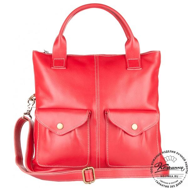 """Женская кожаная сумка """"Амели"""" (красная). фото 1"""
