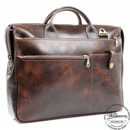 """Кожаная деловая сумка """"Гранд"""" (коричневый эксклюзив)"""