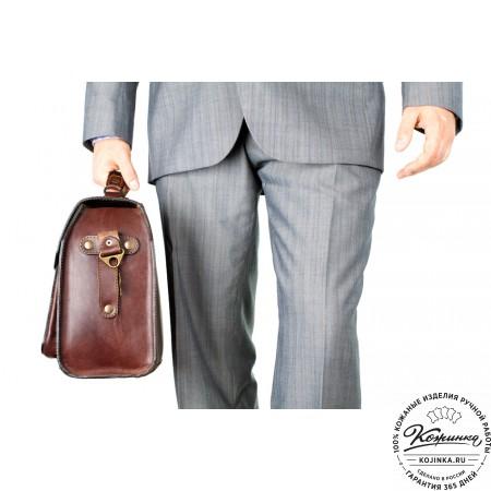 """Кожаный портфель ручной работы """"Фердинанд"""" (коричневый) - 11"""