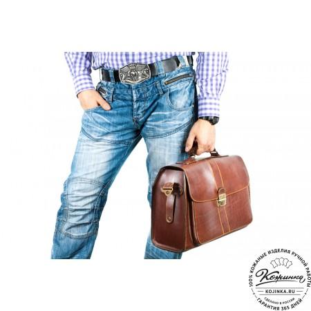 """Кожаный портфель ручной работы """"Фердинанд"""" (коричневый) - 8"""
