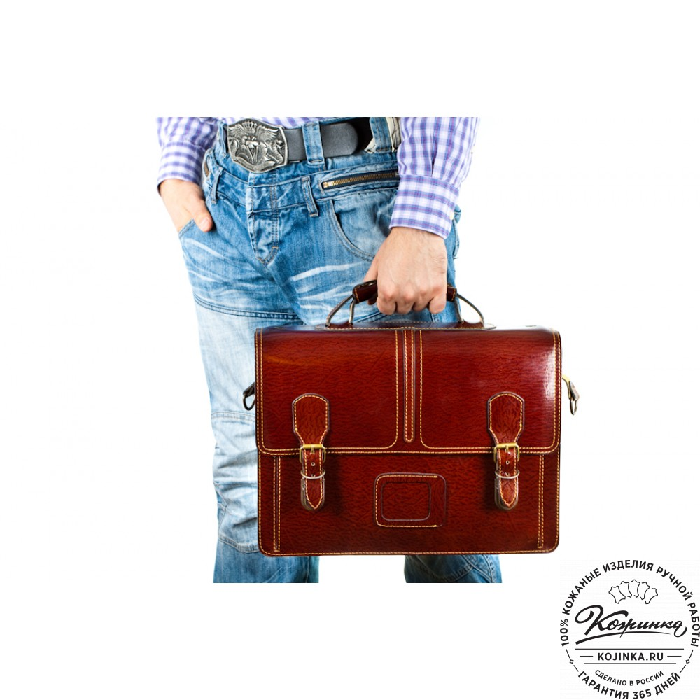 """Кожаный портфель ручной работы """"Уран"""" (красный)"""