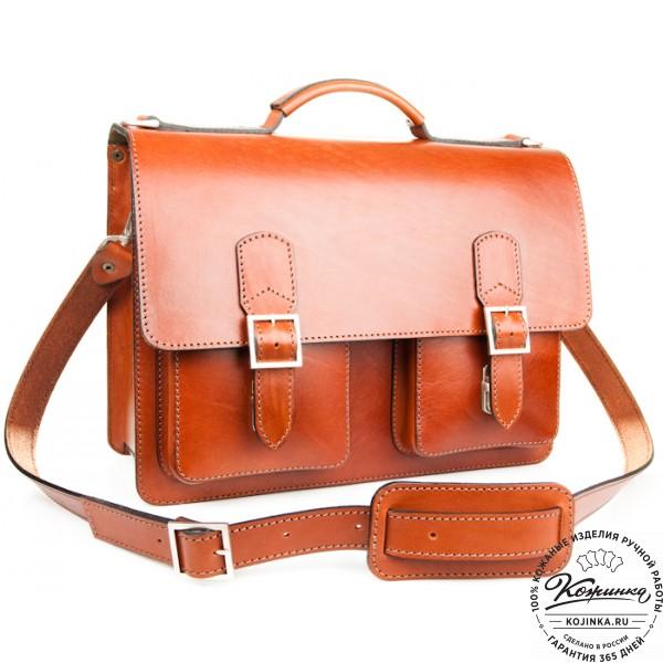 """Кожаный портфель ручной работы  """"Марс""""  (светло-рыжий). фото 1"""