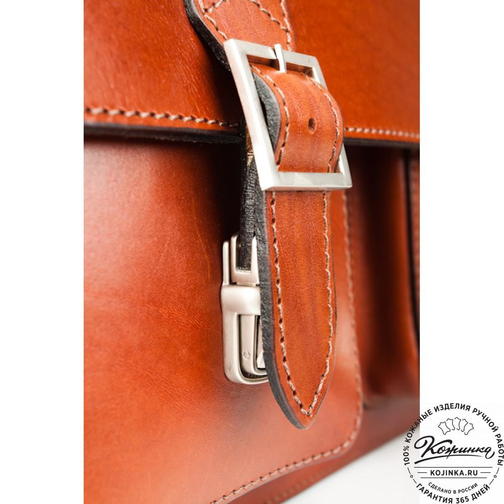 """Кожаный портфель ручной работы  """"Марс""""  (светло-рыжий)"""
