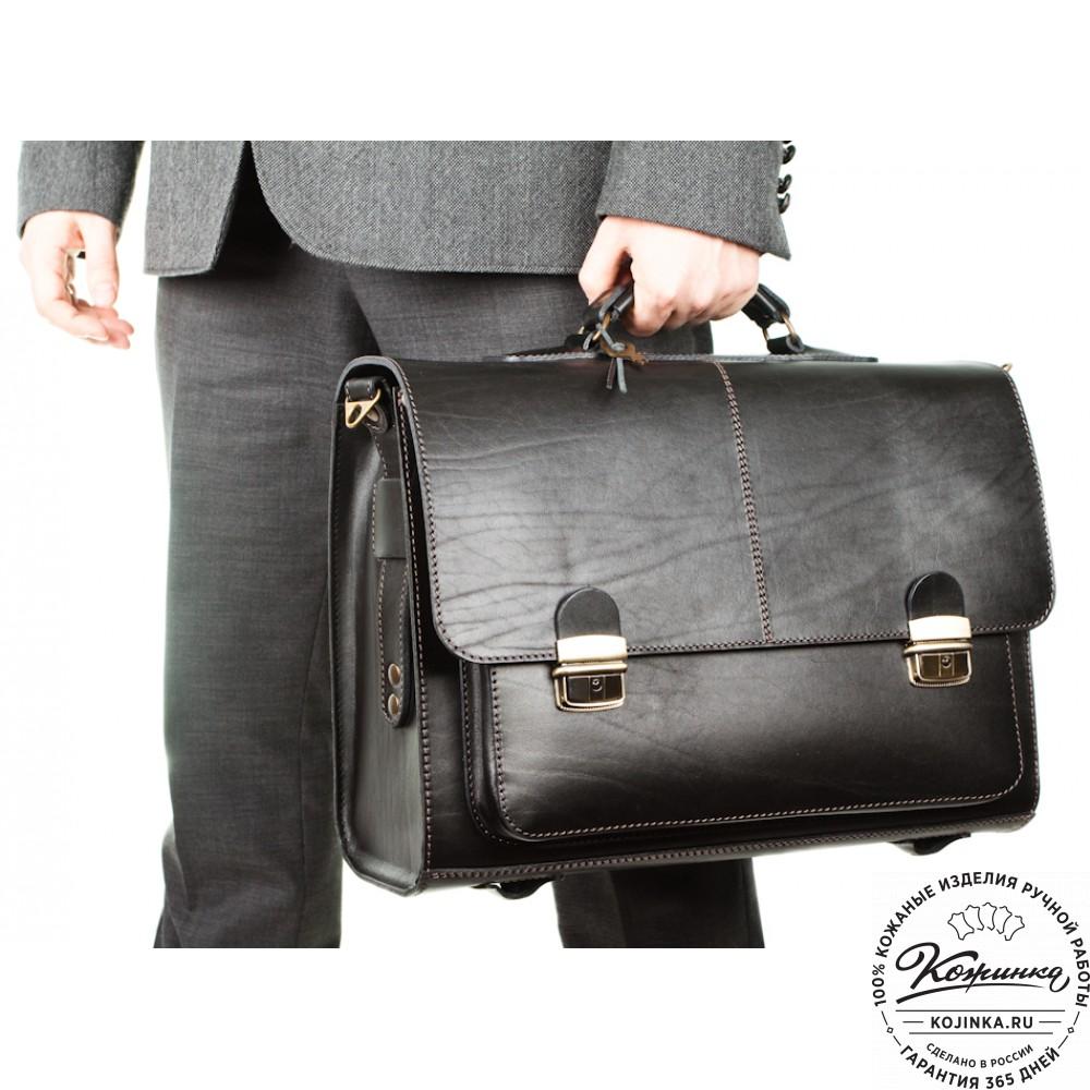 """Кожаный портфель ручной работы """"Прометей"""" (чёрный)"""