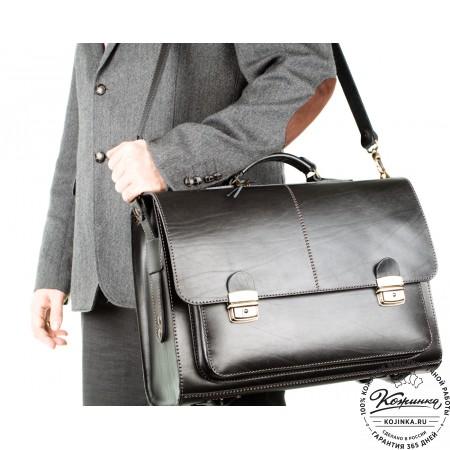 """Кожаный портфель ручной работы """"Прометей"""" (чёрный) - 2"""
