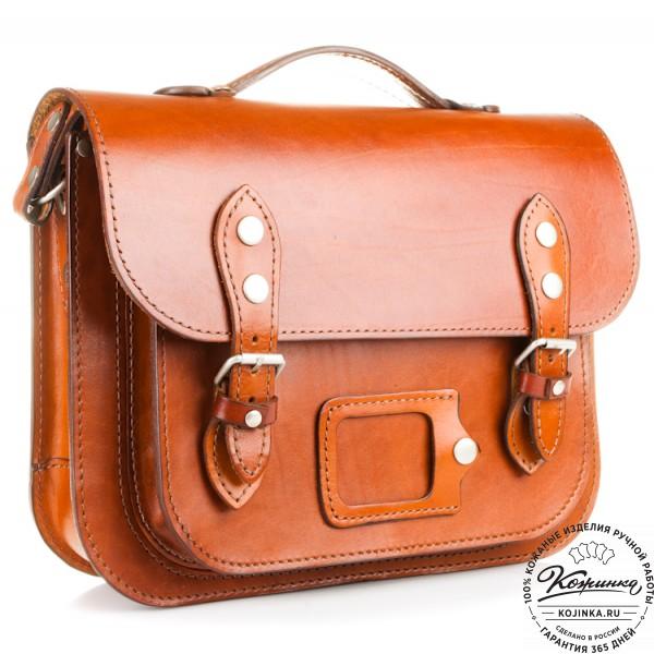 """Кожаный портфель """"Сатчел""""  (светло-коричневый). фото 1"""