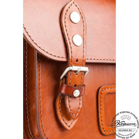 """Кожаный портфель """"Сатчел""""  (светло-коричневый) - 6"""