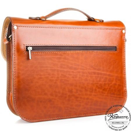 """Кожаный портфель """"Сатчел""""  (светло-коричневый) - 5"""