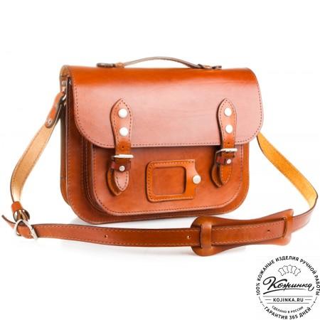 """Кожаный портфель """"Сатчел""""  (светло-коричневый) - 4"""