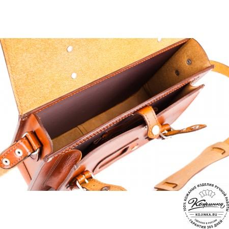 """Кожаный портфель """"Сатчел""""  (светло-коричневый) - 2"""