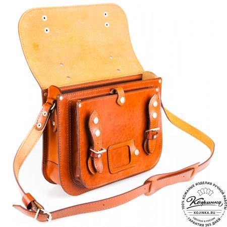 """Кожаный портфель """"Сатчел""""  (светло-коричневый) - 7"""