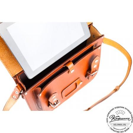 """Кожаный портфель """"Сатчел""""  (светло-коричневый) - 3"""