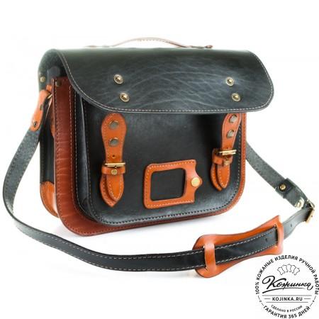 """Кожаный портфель """"Сатчел""""  (чёрно-коричневый) - 6"""