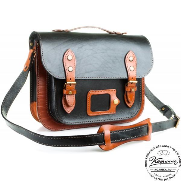 """Кожаный портфель """"Сатчел""""  (чёрно-коричневый). фото 1"""